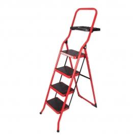 نردبان ایران پایه مدل 4 پله سینی دار قرمز